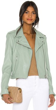 Donna Leather Jacket in Sage. - size S (also in XS,M,L)