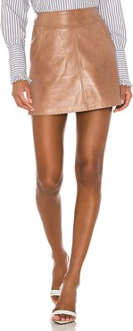 Peggy Leather Mini Skirt in Taupe. - size S (also in XS,L)