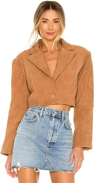 Ansley Cropped Leather Jacket in Tan. - size M (also in XXS,XL)