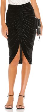 Andy Ruched Midi Skirt in Black. - size M (also in S)