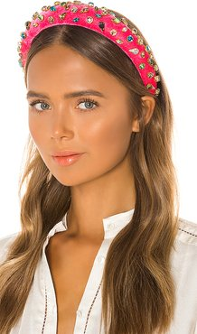 Padded Candy Jeweled Headband in Pink.