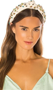 Knotted Candy Jeweled Headband in White.