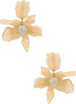 Small Crystal Lily Earring in Cream.
