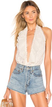 Peony Bodysuit in White. - size M (also in L,S,XS)