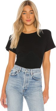 Bodice Tee in Black. - size L (also in M,S,XS)
