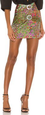 Floral Vintage Mini Skirt in Pink,Green. - size M (also in S,XS)