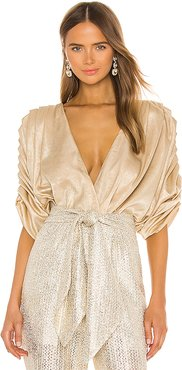 Golden Pleated Bodysuit in Metallic Gold. - size XS (also in M,S)