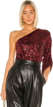 lORANE Sequin One Shoulder Top in Red. - size L (also in M,S,XS)