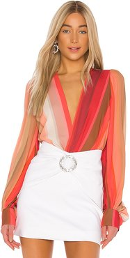 Tropical Chiffon Bodysuit in Red,Coral. - size M (also in XS)