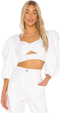 Supper Cotton Cropped Top in Ivory. - size XS (also in L,M,S)