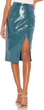Michelle Faux Leather Skirt in Blue. - size XL (also in L,M,S,XS)