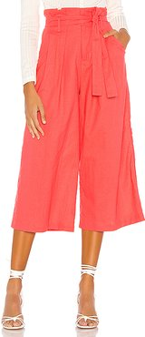 Wide Leg Paperbag Pant in Coral. - size XL (also in L,M,S,XS,XXS)