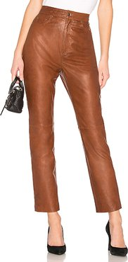 Leather Straight Leg Pants in Brown. - size L (also in S,XL)