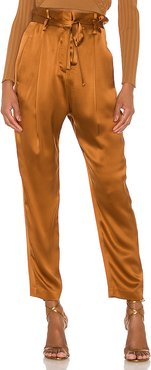 X REVOLVE Paperbag Cropped Trouser in Brown. - size 0 (also in 2,4,8)