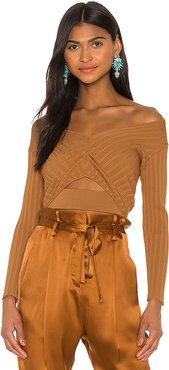 Off Shoulder Rib Top in Brown. - size M (also in XS,S,L)
