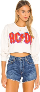X REVOLVE ACDC Highway To Hell Cropped Sweatshirt in Cream. - size M (also in S)