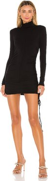 x REVOLVE Shirred Bodycon Mini Dress in Black. - size L (also in M,S,XL,XS)