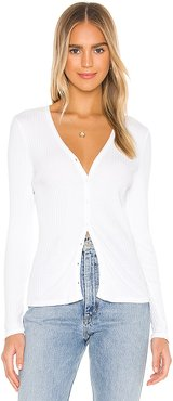Carmen Button Front Cardigan in White. - size XS (also in L,M)
