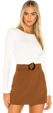 Gathered Sleeve Rib Top in White. - size L (also in M)