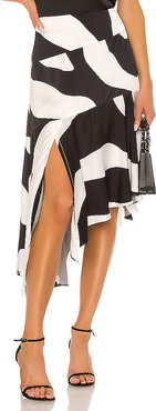 Zebra Print Viscose Asymmetrical Cascade Skirt in Black & White. - size S (also in M,XS)