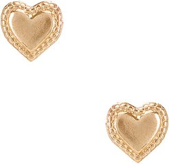 Heart Studs in Metallic Gold.