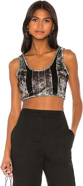 Lena Embellished Top in Metallic Silver. - size L (also in M,S,XL,XS,XXS)