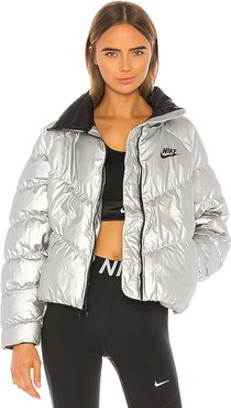 Puffer Jacket in Metallic Silver. - size XS (also in L,M,S)