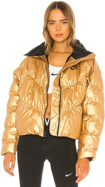 Puffer Jacket in Metallic Gold. - size M (also in L,S,XS)