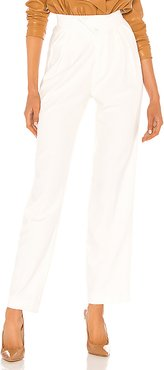 Britt Pleated Trouser in White. - size S (also in L,M,XS)