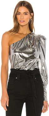 Sloane One Shoulder Top in Metallic Silver. - size XS (also in L,S)
