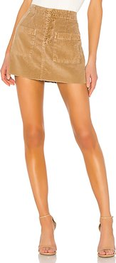 Penelope Patch Pocket Mini Skirt in Brown. (also in 26,27)