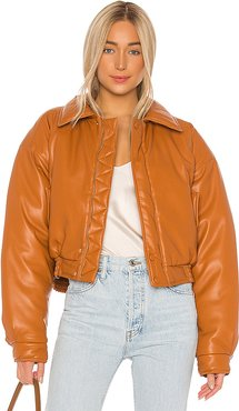 Bomi Faux Leather Bomber Jacket in Orange. - size S (also in L,M,XS)