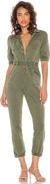 Mayslie Jumpsuit in Olive. - size 2 (also in 4,6)