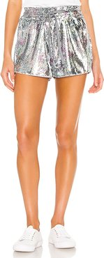 Sequin High Waist Shorts in Metallic Silver. - size L (also in XS,S,M)