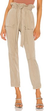 Paperbag Waist Pant in Tan. - size M (also in L,XS)