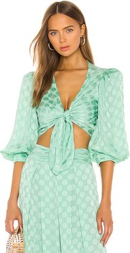 Satin Dot Tie Front Cropped Top in Green. - size L (also in M,S)