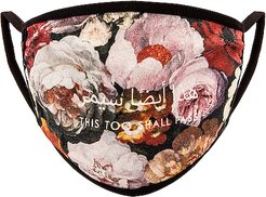 Floral Painting Cotton Face Mask in Multi.
