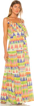 Le Camus Mosaic Tiered Sun Dress in Yellow,Green. - size 3/L (also in 1/S)