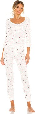 Thermal Heart PJ & Scrunchie Set in White. - size L (also in M)