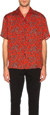 Viscose Camp Collar Shirt in Red. - size M (also in L)