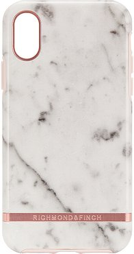 White Marble & Rose iPhone X/XS Case in White.