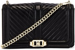 Chevron Quilted Love Crossbody Bag in Black.