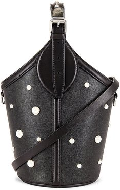 Pippa Top Handle with Pearl Studs Bag in Black.