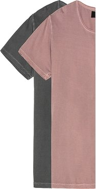 2-Pack Old Mate Washed Tee in Mauve,Charcoal. - size M (also in S)