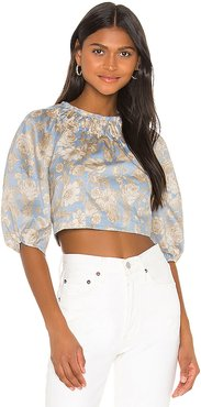 Long Sleeve Satin Leaf Top in Blue. - size 2 (also in 0,6,8)