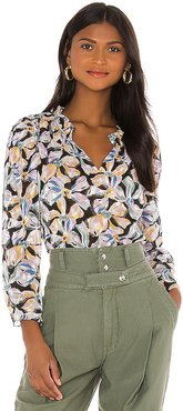 Long Sleeve Bow Fleur Top in Black,Blue. - size L (also in M,S,XS)