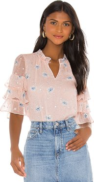 Short Sleeve Trellis Top in Pink. - size 2 (also in 0,4,6,8)