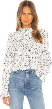 Solstice Mock Neck Blouse in White. - size XS (also in S)