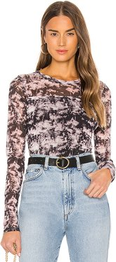 Sheer Indulgence Mesh Top in Black,Purple. - size XS (also in L,M,S)