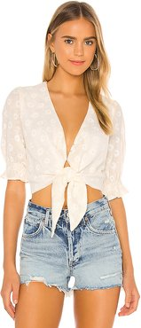 Kimmy Tie Top in Ivory. - size M (also in L,XL,XS)